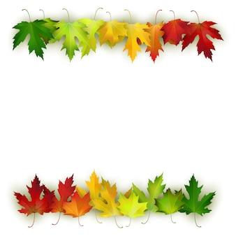 Decoração com folhas de outono coloridas