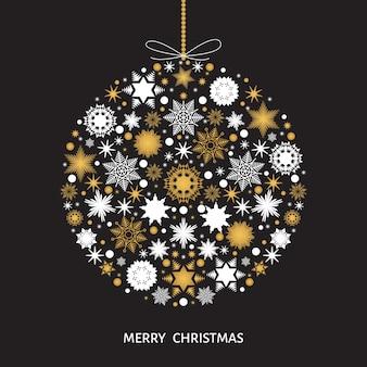 Decoração da árvore de natal. bola de natal com flocos de neve brancos e dourados. ilustração vetorial para plano de fundo de cartão postal.