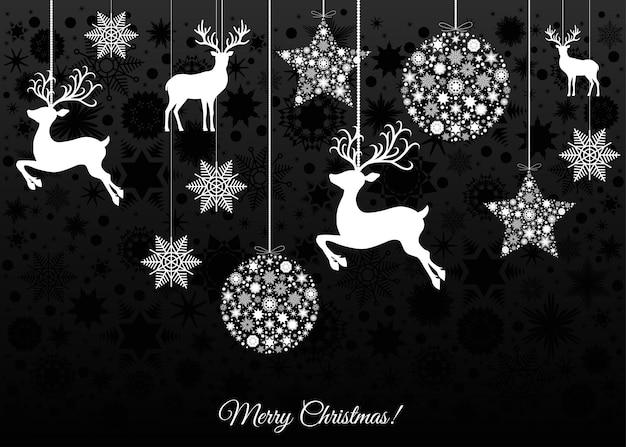 Decoração da árvore de natal branca em fundo preto. feliz ano novo. bola de natal, renas e flocos de neve. modelo de vetor para cartão ou convite para festa.