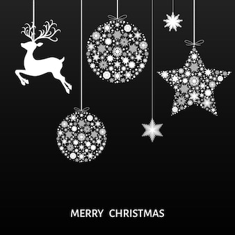 Decoração da árvore de natal branca. feliz ano novo. bola de natal branca, renas e flocos de neve. modelo de vetor para cartão em fundo preto.