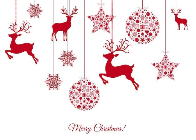 Decoração da árvore de natal vermelha em fundo branco. feliz ano novo. bola de natal, renas e flocos de neve. modelo de inverno de vetor para cartão ou convite para festa.