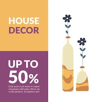 Decoração da casa com até percentual de desconto no banner promocional