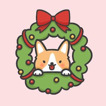 Decoração da grinalda da flor do natal e mão do cão do corgi tirada