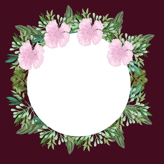 Decoração da natureza de folhagem e flores rosa em volta da borda, pintura de ilustração