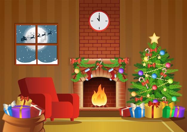 Decoração da sala da lareira para a noite de natal