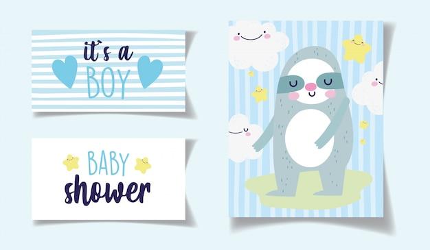 Decoração das nuvens do urso kawaii é um cartão do chuveiro de bebê menino
