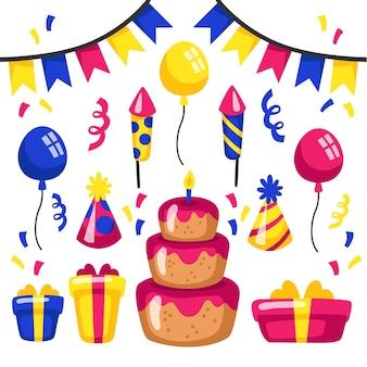 Decoração de aniversário com bolo e foguetes