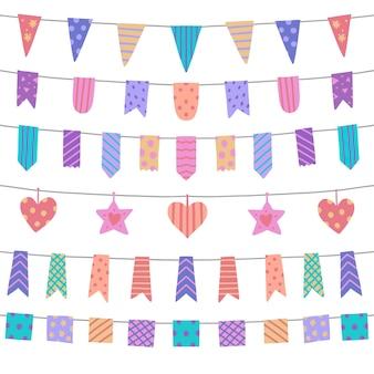 Decoração de aniversário com fita colorida
