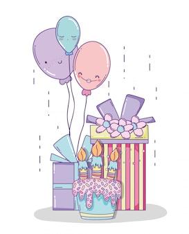 Decoração de aniversário com presentes e balões de personagem