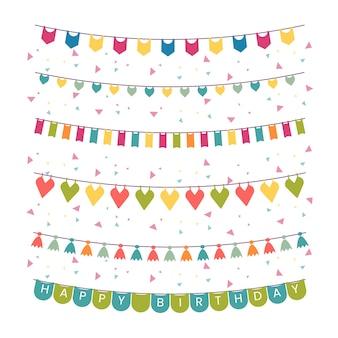 Decoração de aniversário de guirlandas e confetes