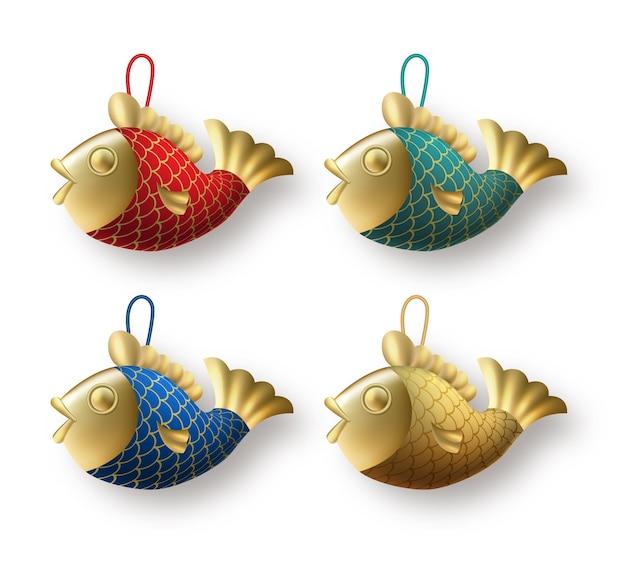 Decoração de ano novo chinês com peixes koi
