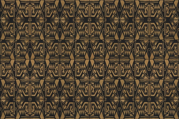 Decoração de arte vintage padrão dourado