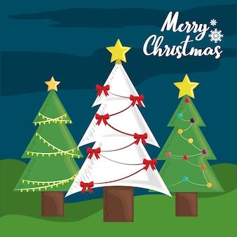 Decoração de árvores de feliz natal com bolas de estrelas e arcos