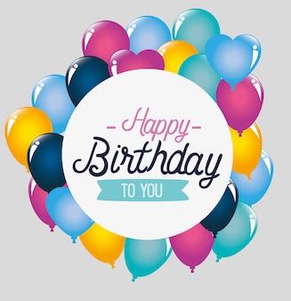 Decoração de balões para feliz aniversário, cartão de felicitações