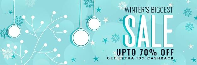 Decoração de banner de venda de natal de inverno