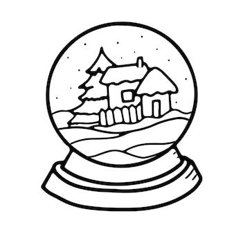 Decoração de bola de neve de natal em vidro redondo estilo doodle