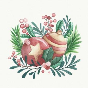 Decoração de bolas de natal em aquarela