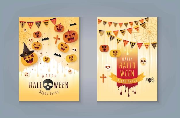 Decoração de bunting feliz festa de halloween, abóbora de halloween com sangue. teia de aranha e aranha.