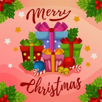 Decoração de caixa de presente com cartão de feliz natal