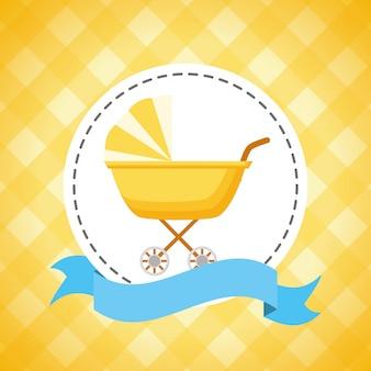 Decoração de carrinho de bebê para cartão de chuveiro de bebê