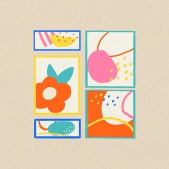 Decoração de casa de vetor de porta-retratos desenhada à mão em estilo gráfico plano colorido
