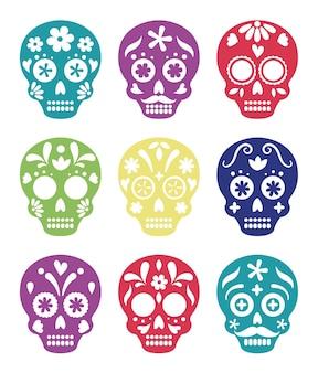 Decoração de caveiras mexicanas, celebração, caveiras coloridas