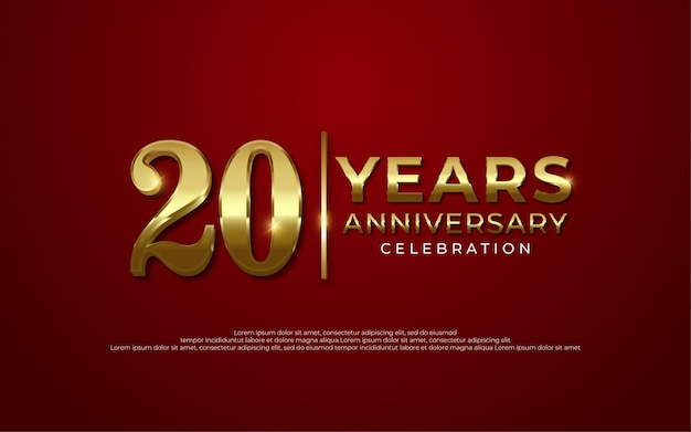 Decoração de celebração de aniversário de luxo dourado número 20 fundo vermelho