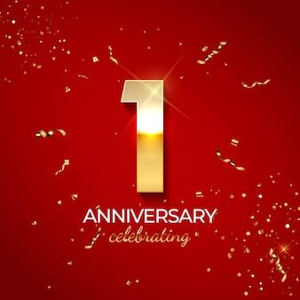 Decoração de celebração de aniversário. número dourado 1 com fitas de confete, brilhos e serpentina em fundo vermelho.