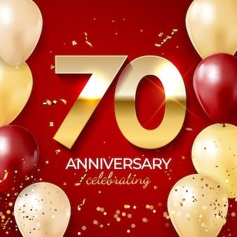 Decoração de celebração de aniversário. número dourado 70 com balões, confetes, brilhos e fitas streamer