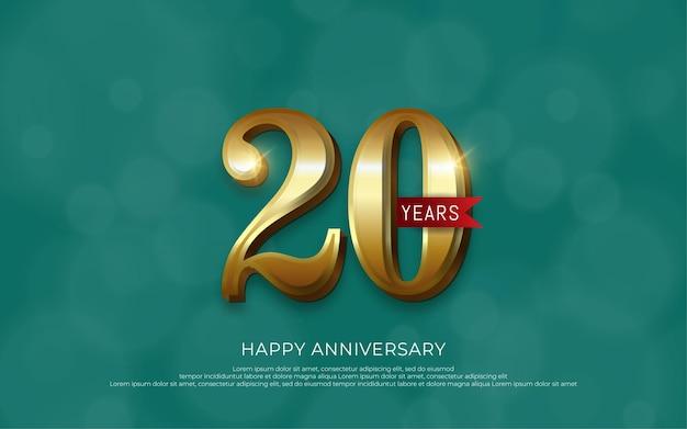 Decoração de comemoração de aniversário de luxo número dourado 20
