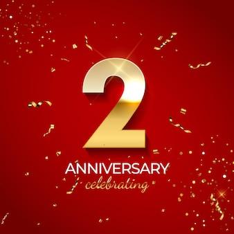 Decoração de comemoração de aniversário, número dourado 2 com confetes, brilhos e fitas de serpentina em fundo vermelho