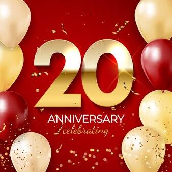 Decoração de comemoração de aniversário, número dourado 20 com confetes, balões, brilhos e fitas de serpentina