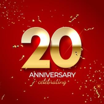 Decoração de comemoração de aniversário, número dourado 20 com fitas de confete, brilhos e serpentina em fundo vermelho.