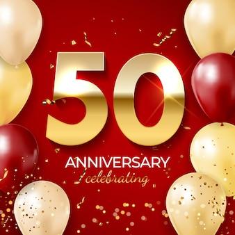 Decoração de comemoração de aniversário, número dourado 50 com fitas de confete, balões, brilhos e serpentina em fundo vermelho.