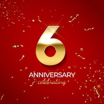 Decoração de comemoração de aniversário número dourado 6 com brilhos de confete e fitas de serpentina em fundo vermelho