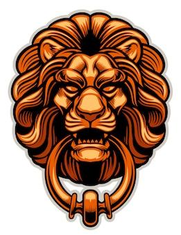 Decoração de cópia de aldrava de porta de leão