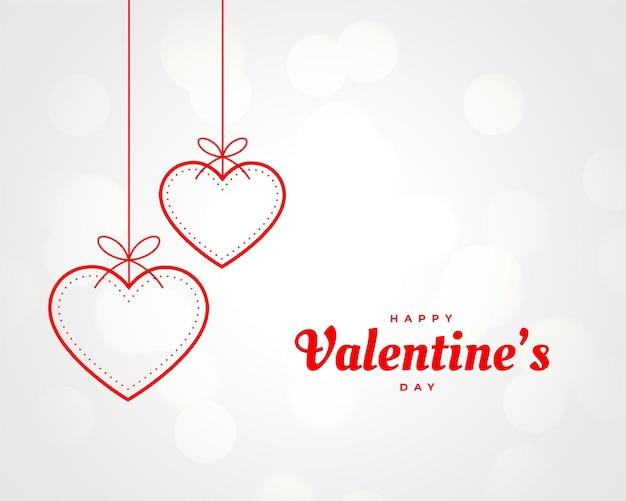 Decoração de corações pendurados para o dia dos namorados