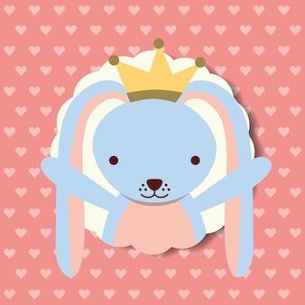 Decoração de coroa de coelho bonito retrato azul