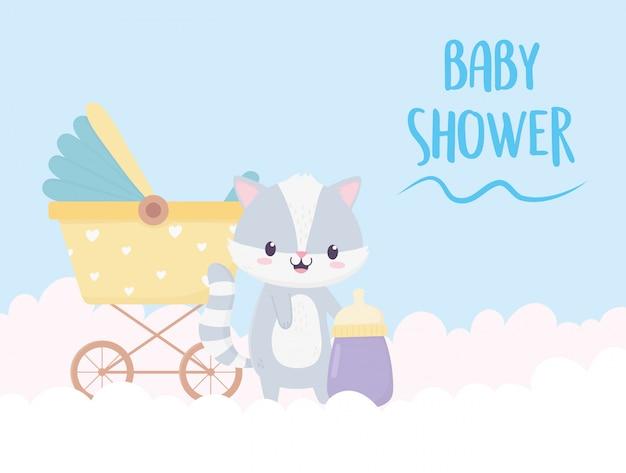 Decoração de desenhos animados de guaxinim de chuveiro de bebê