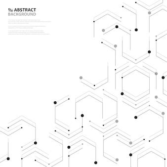 Decoração de design de capa de padrão de nanotecnologia hexagonal preto abstrato.
