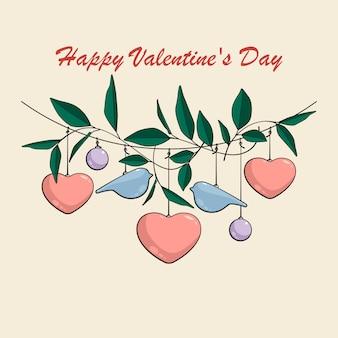 Decoração de dia dos namorados com corações, pássaros, folhas e bolas