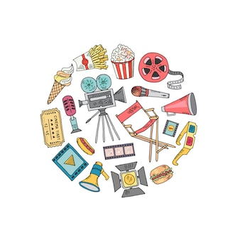 Decoração de doodle de cinema em forma de círculo
