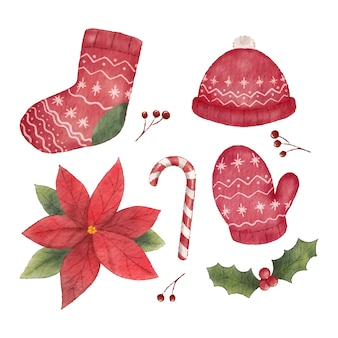 Decoração de elemento de objetos vermelhos de natal em estilo aquarela