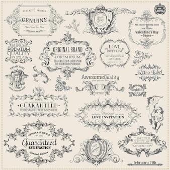 Decoração de elementos de design caligráfico