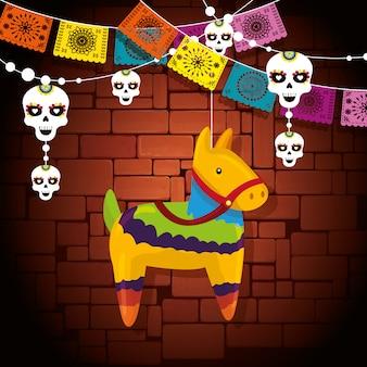 Decoração de evento de burro com banner de festa de caveira
