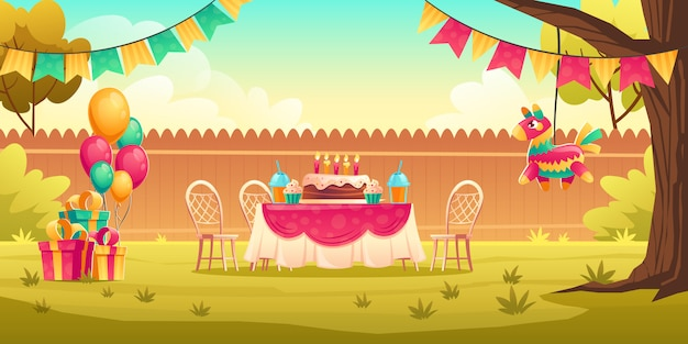 Decoração de festa de aniversário para crianças fora