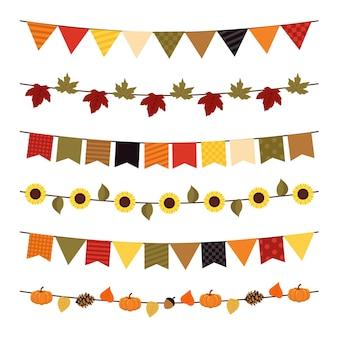 Decoração de flâmulas de outono com folhas e girassóis