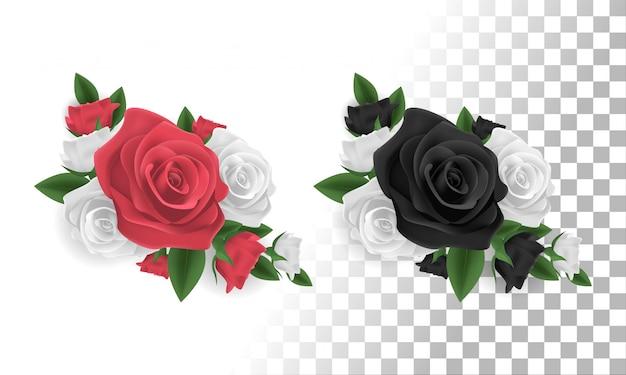 Decoração de flor rosa vermelha, branca e preta