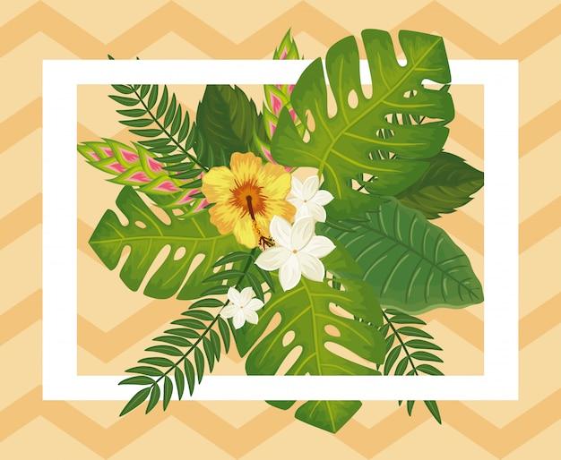 Decoração de flores com folhas natureza tropicals