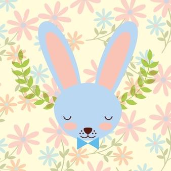 Decoração de flores de coelho azul